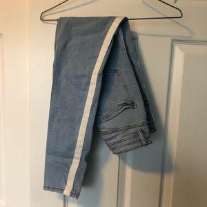 zara jeans with white stripe